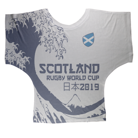 Ladies - Scotland - 'Great Wave' Draped T-Shirt