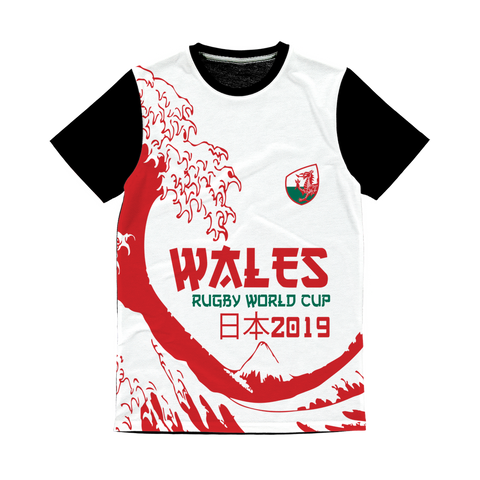 Ladies - Wales - 'Great Wave' Panel T-Shirt