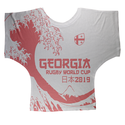 Ladies - Georgia - 'Great Wave' Draped T-Shirt