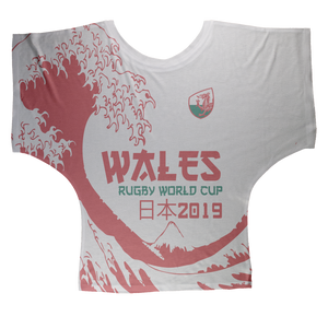 Ladies - Wales - 'Great Wave' Draped T-Shirt