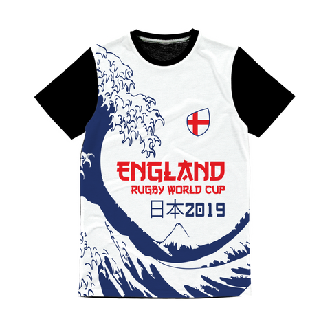 Ladies - England - 'Great Wave' Panel T-Shirt