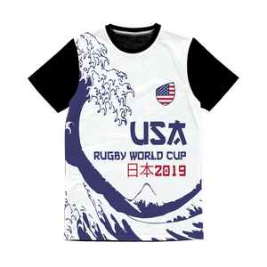 Mens - USA - 'Great Wave'Panel T-Shirt