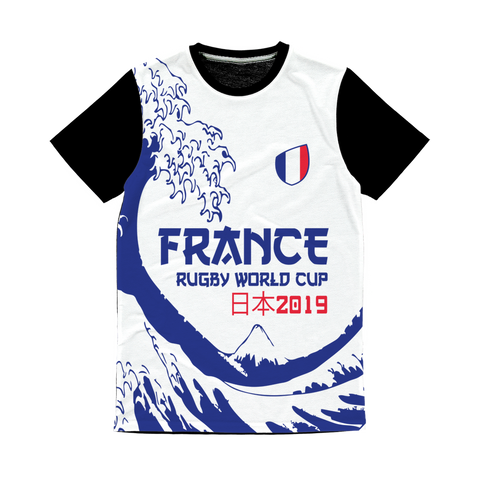 Mens - France - 'Great Wave' Panel T-Shirt