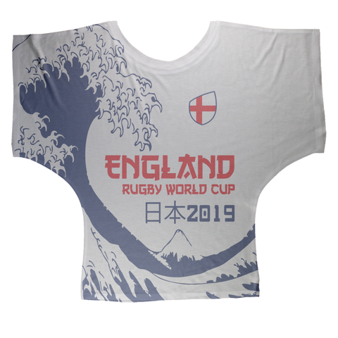 Ladies - England - 'Great Wave' Draped T-Shirt