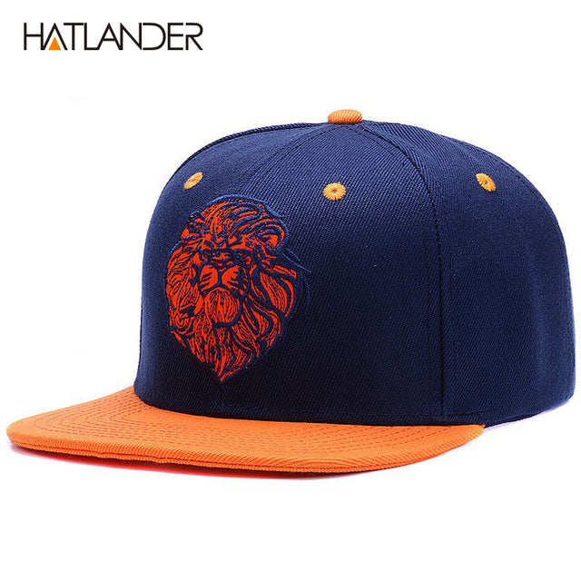 a690c4e0bd4 High quality lion face embroidery snapback cap cool king hip hop hat for  boys and girls
