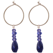 Load image into Gallery viewer, blue beaded drop earrings