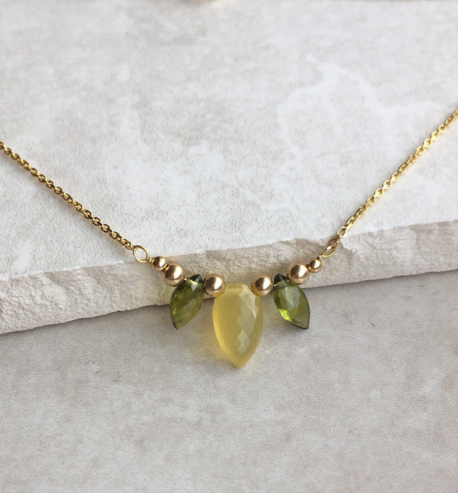 Yellow Opal and Peridot Petal Necklace