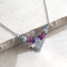 Load image into Gallery viewer, Silver necklace with aquamarine briolette and multi coloured beads