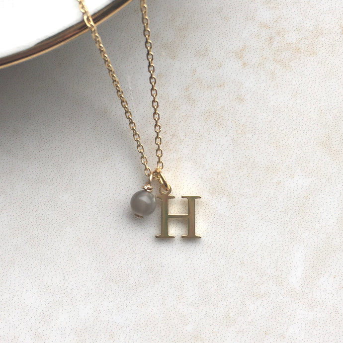 gold initial necklace with june birthstone