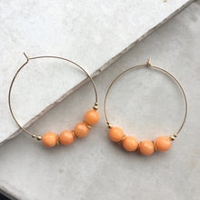 Load image into Gallery viewer, Orange and Gold Hoop Earrings
