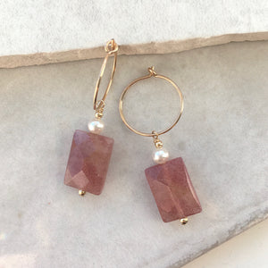 Strawberry Quartz and Pearl Drop Hoop Earrings