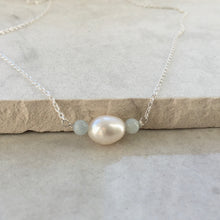 Load image into Gallery viewer, Pearl and Aquamarine Silver Necklace