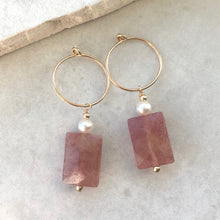 Load image into Gallery viewer, Strawberry Quartz and Pearl Drop Hoop Earrings