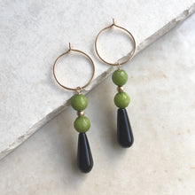 Load image into Gallery viewer, Onyx and Jade Drop Hoop Earrings