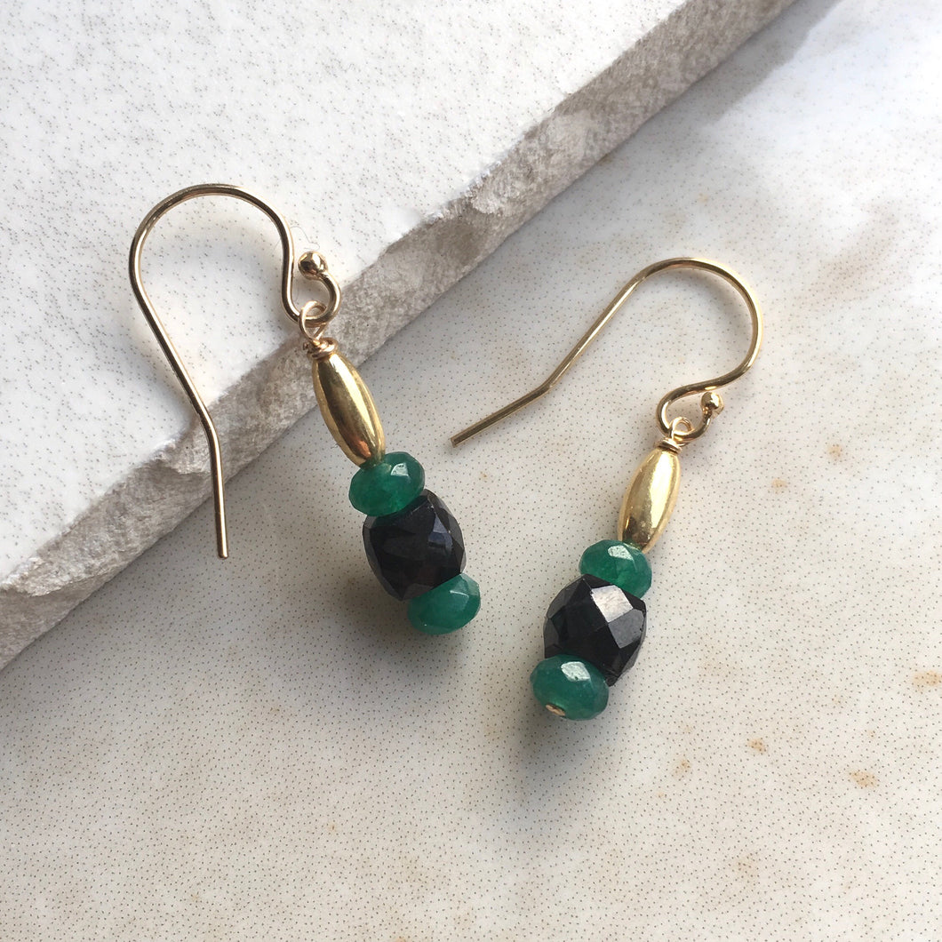 Green and Black Drop Earrings