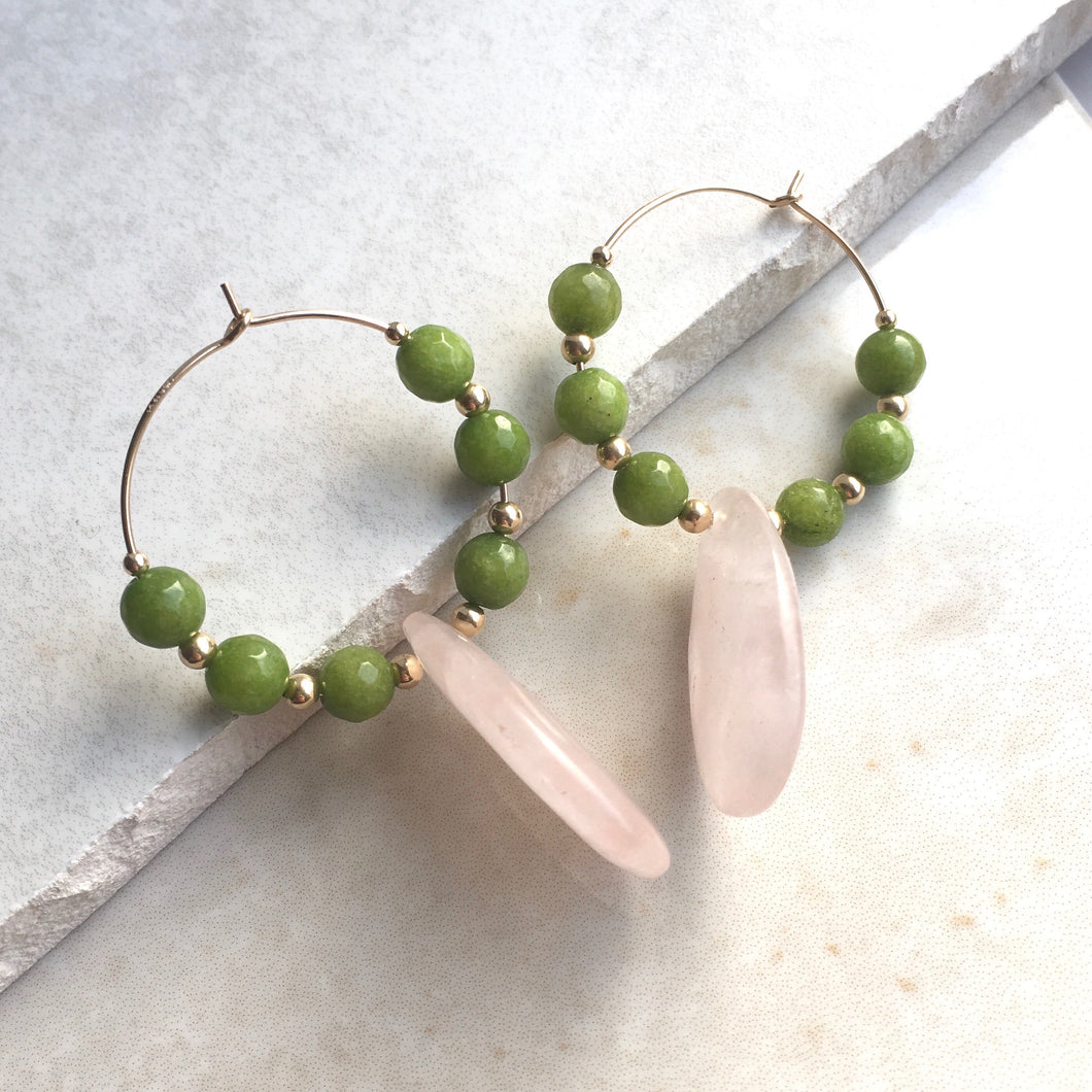 Rose Quartz and Green Bead Hoop Earrings