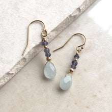 Load image into Gallery viewer, Aquamarine and Iolite Gold Drop Earrings