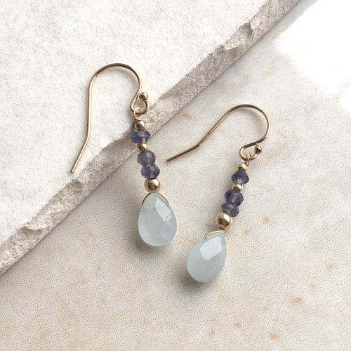 Aquamarine and Iolite Gold Drop Earrings