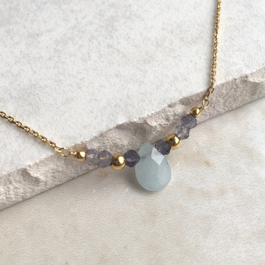 Aquamarine and Iolite Gold Necklace