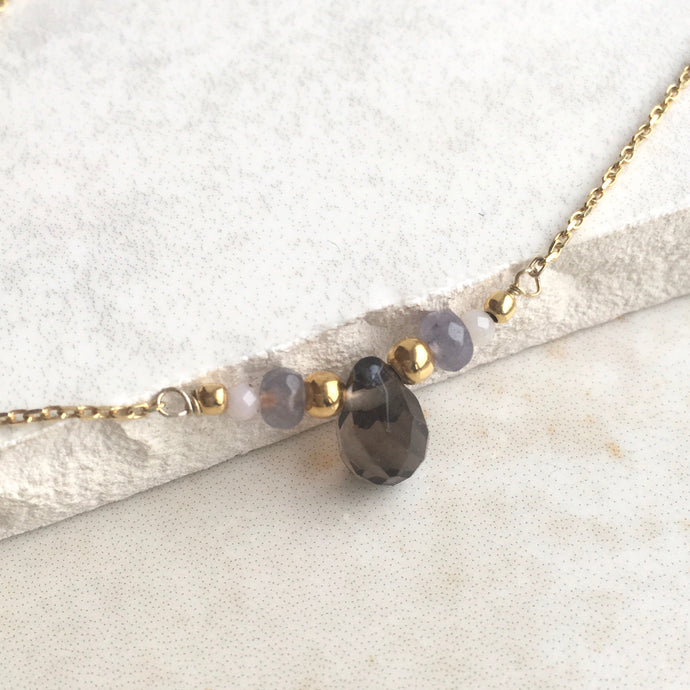 Smoky Quartz Beaded Gold Necklace