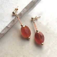Load image into Gallery viewer, Carnelian Beaded Drop Earrings