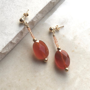 Carnelian Beaded Drop Earrings