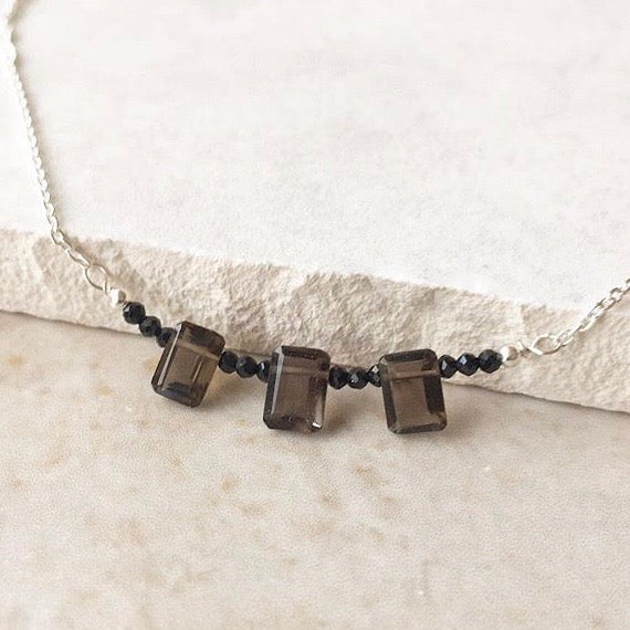 Smoky Quartz Silver Castle Necklace