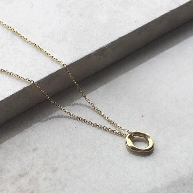 Organic Gold Ring Necklace