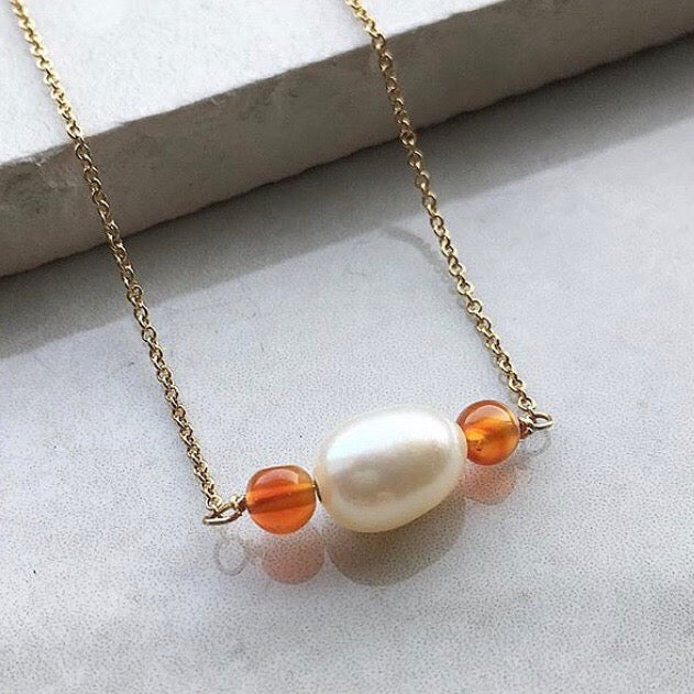 Pearl and Carnelian Necklace