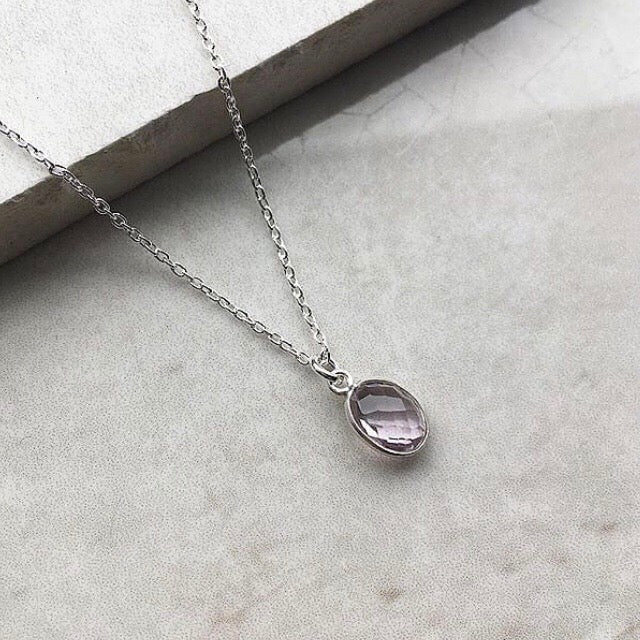 Pink Amethyst Pendant Necklace