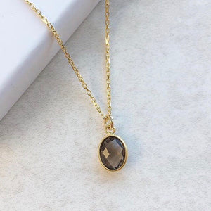 Smoky Quartz Gold Pendant Necklace
