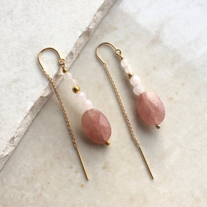 Strawberry Quartz Beaded Threader Earrings