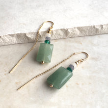 Load image into Gallery viewer, Green Aventurine Beaded Threader Earrings