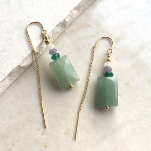 Green Aventurine Beaded Threader Earrings