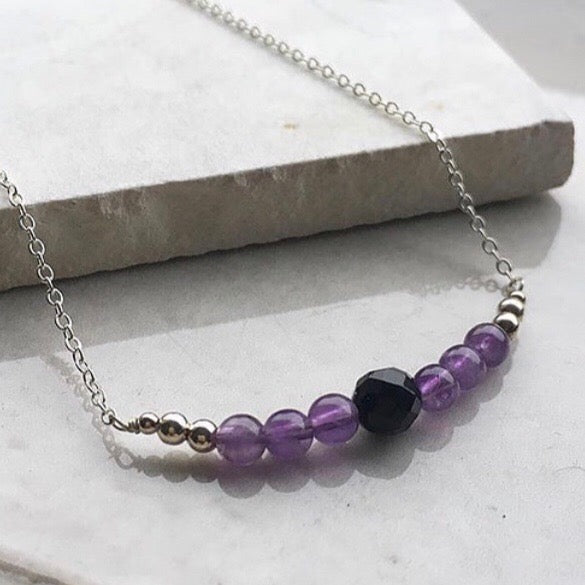 Amethyst and Onyx Silver Necklace