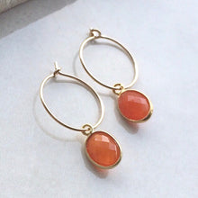 Load image into Gallery viewer, gold hoop earrings with carnelian oval drops