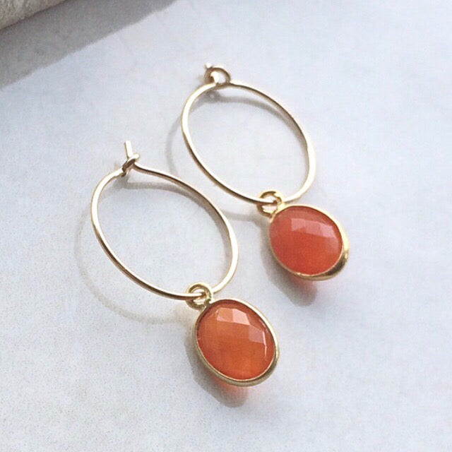 gold hoop earrings with carnelian oval drops