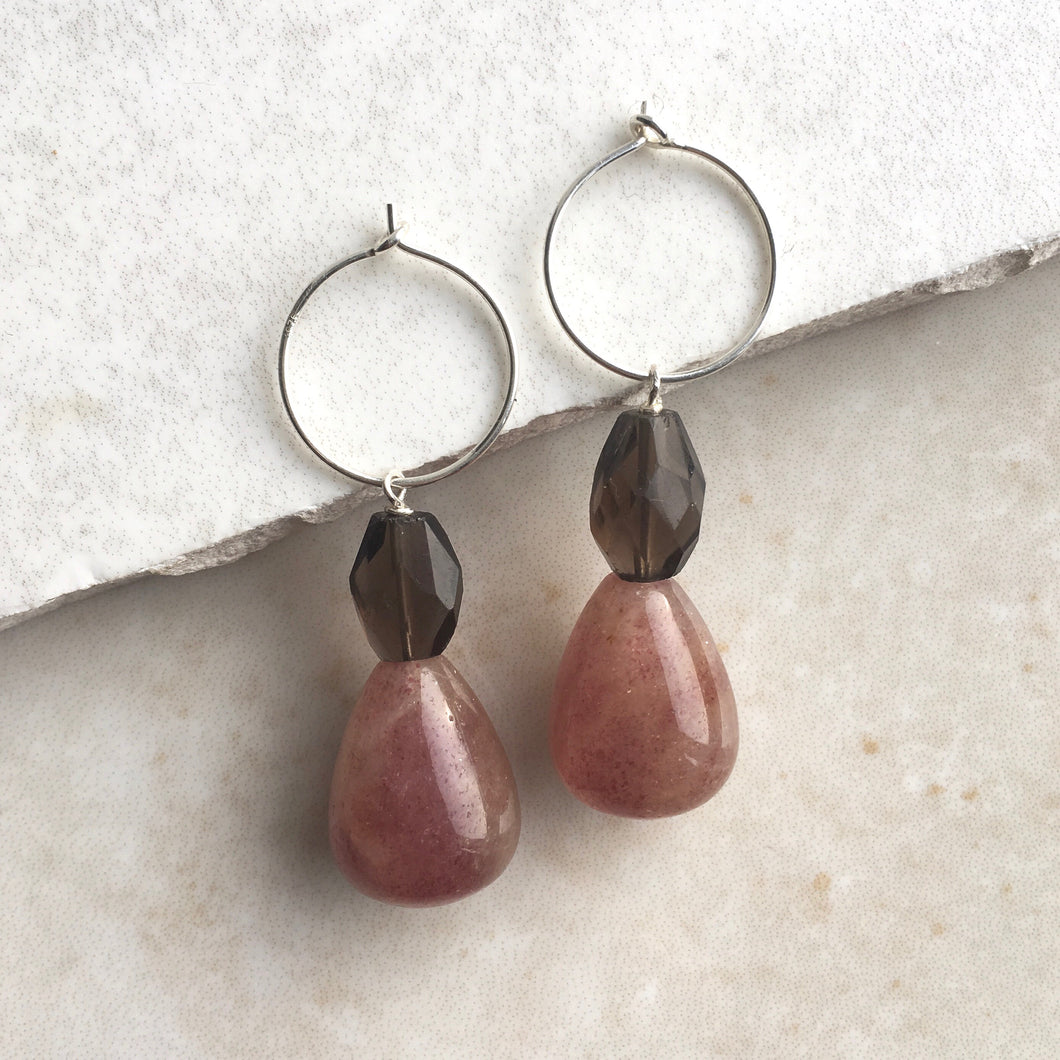 Strawberry Quartz and Smoky Quartz Drop Hoop Earrings