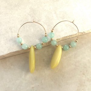 yellow and blue bead drop hoop earrings
