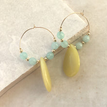 Load image into Gallery viewer, yellow and blue bead drop hoop earrings