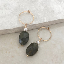 Load image into Gallery viewer, Labradorite and Pearl Drop Hoop Earrings