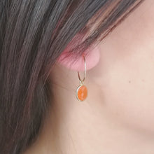 Load image into Gallery viewer, carnelian hoop earrings in gold