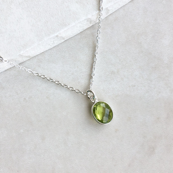 Green Peridot Pendant Necklace