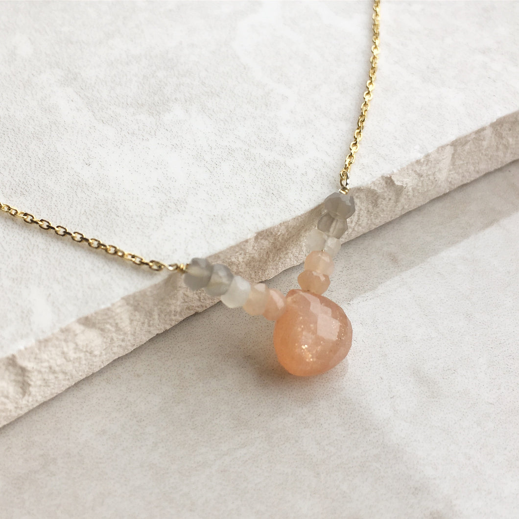 Peach Moonstone Graduated Necklace