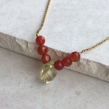 Load image into Gallery viewer, lemon quartz and orange carnelian beaded gold necklace