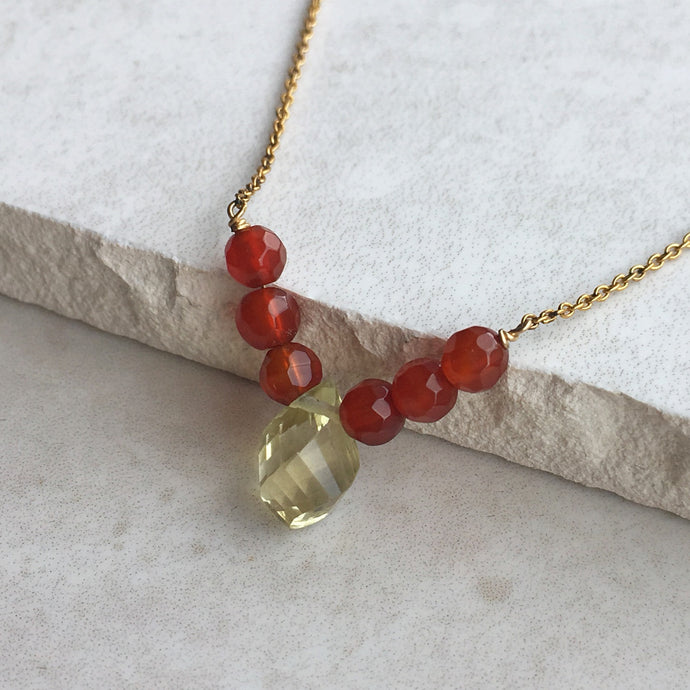 lemon quartz and orange carnelian beaded gold necklace