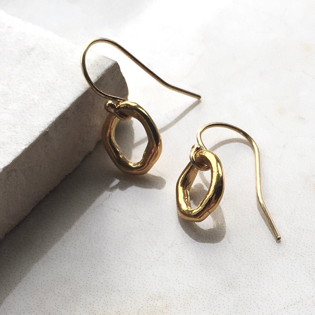 Organic ring gold Earrings
