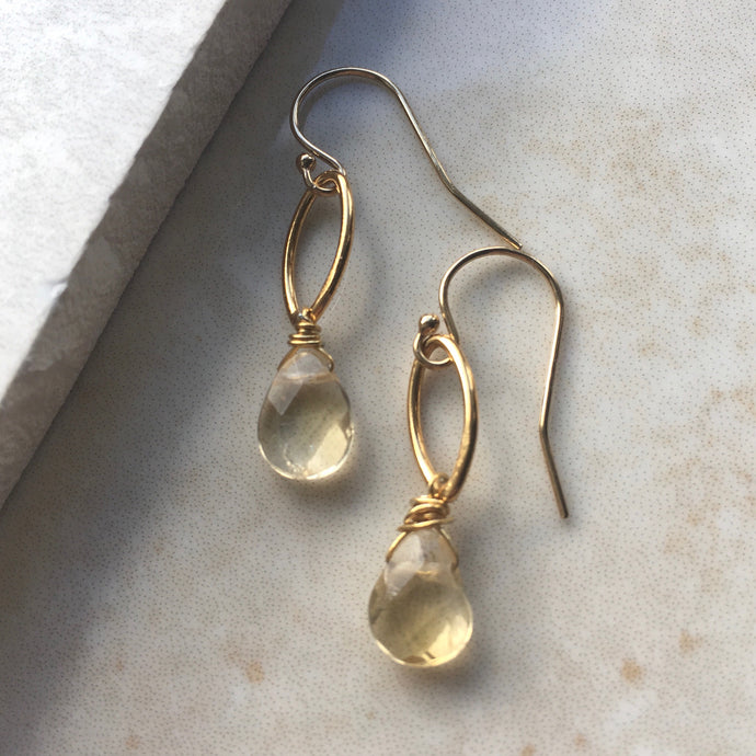 citrine briolette and gold oval drop earrings