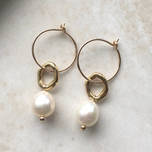 Load image into Gallery viewer, double gold hoop and pearl earrings