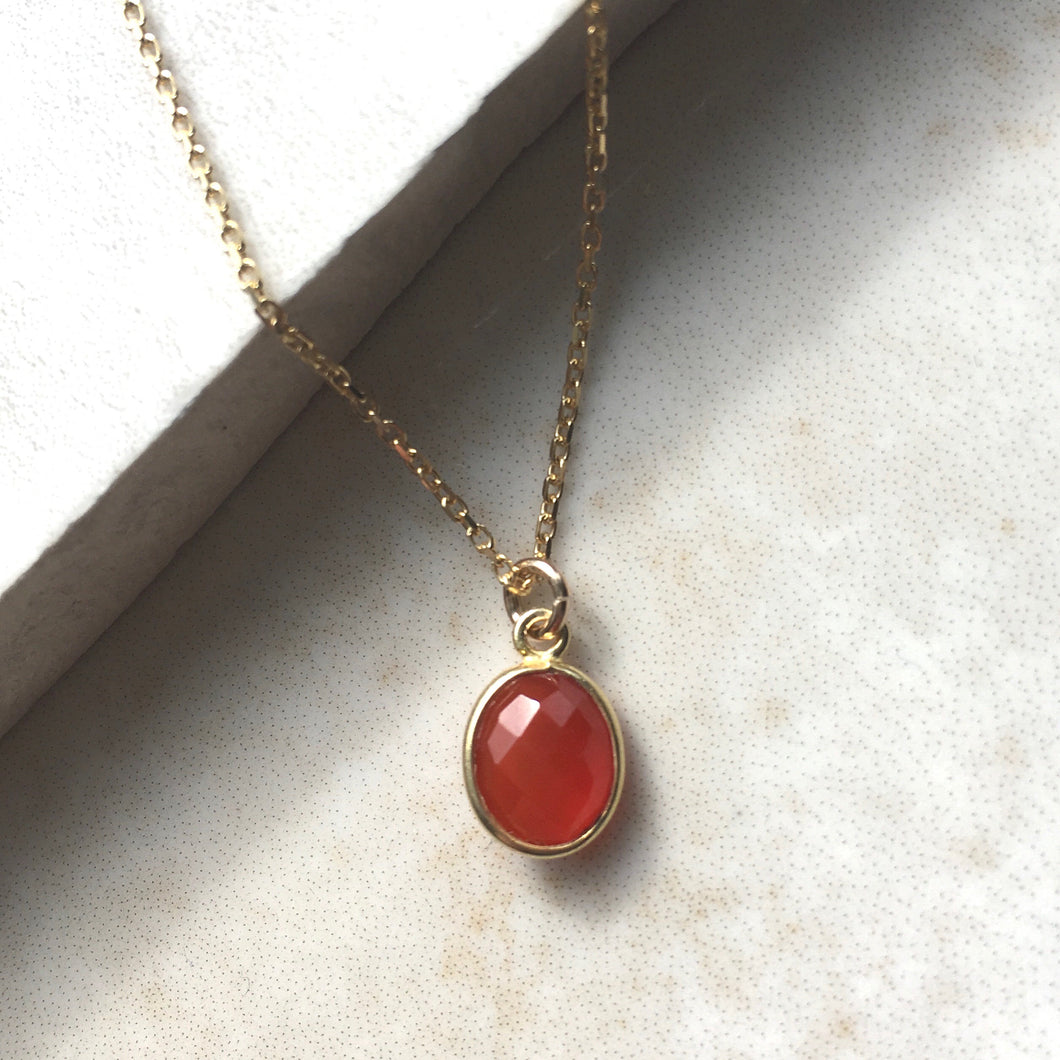 Carnelian Gold Pendant Necklace